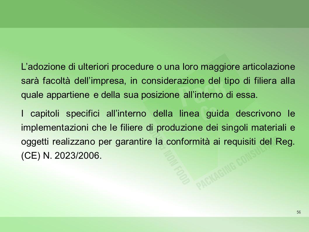 56 Ladozione di ulteriori procedure o una loro maggiore articolazione sarà facoltà dellimpresa, in considerazione del tipo di filiera alla quale appar