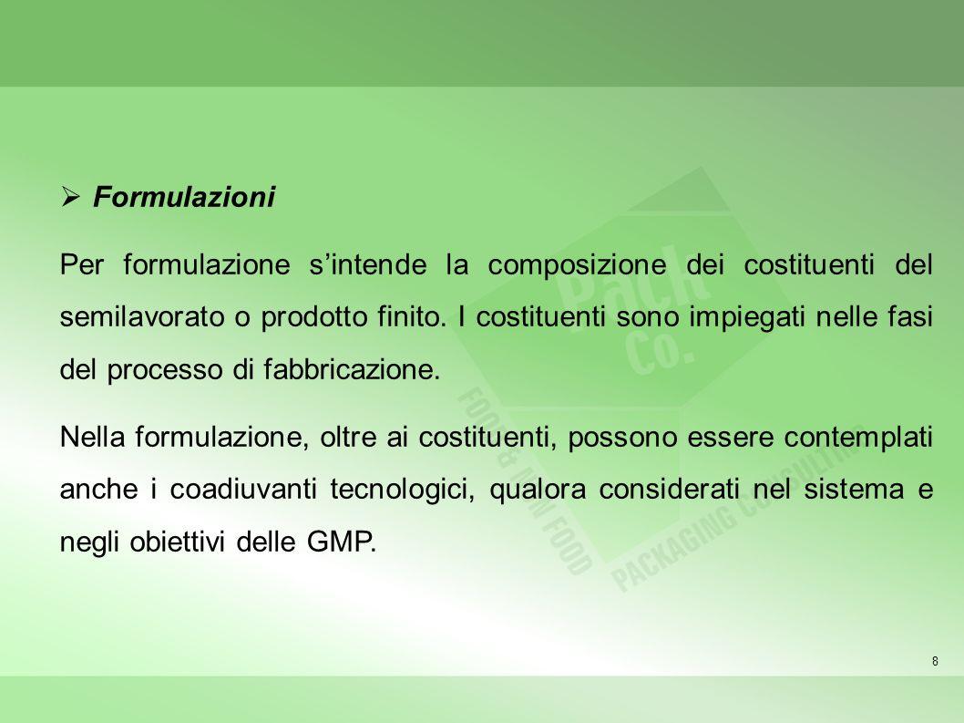 8 Formulazioni Per formulazione sintende la composizione dei costituenti del semilavorato o prodotto finito. I costituenti sono impiegati nelle fasi d