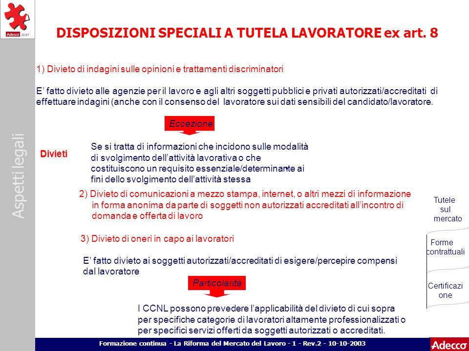 Aspetti legali p. 12 Formazione continua - La Riforma del Mercato del Lavoro - 1 - Rev.2 - 10-10-2003 DISPOSIZIONI SPECIALI A TUTELA LAVORATORE ex art