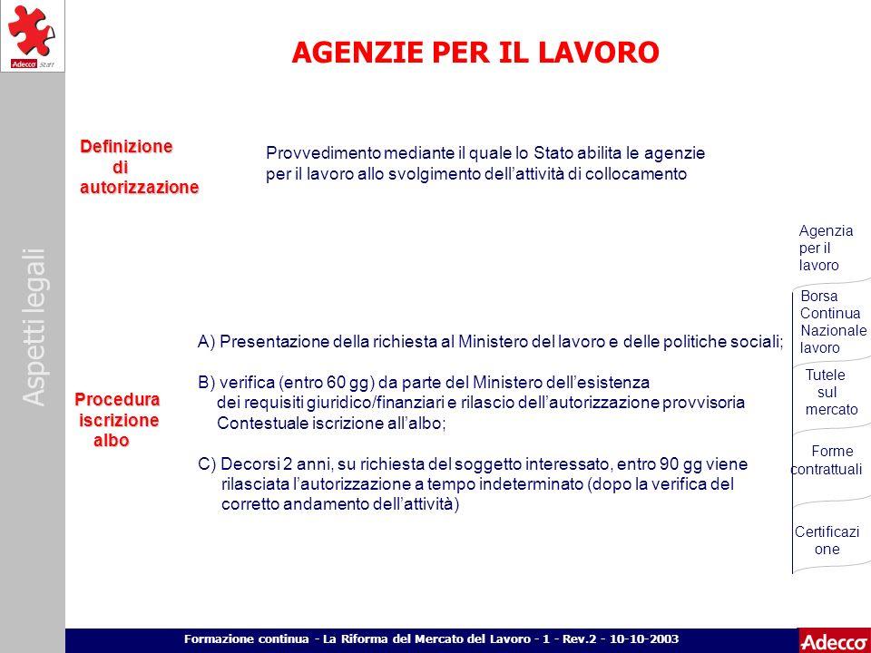 Aspetti legali p. 13 Formazione continua - La Riforma del Mercato del Lavoro - 1 - Rev.2 - 10-10-2003 AGENZIE PER IL LAVORO A) Presentazione della ric