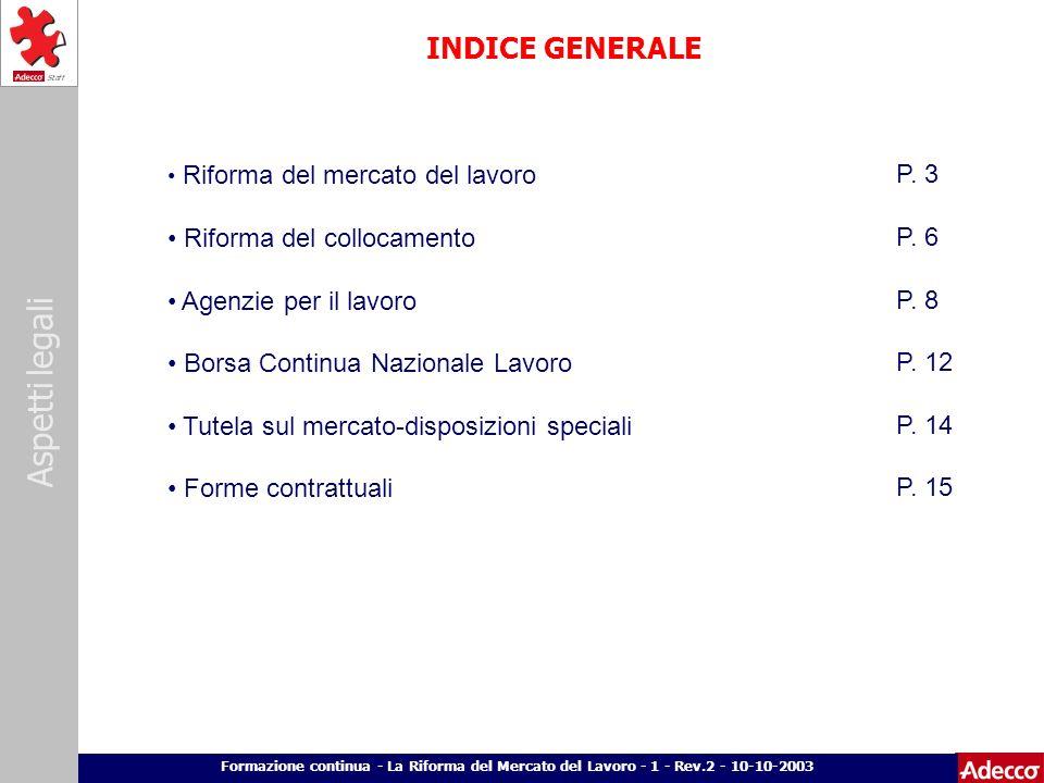 Aspetti legali p. 2 Formazione continua - La Riforma del Mercato del Lavoro - 1 - Rev.2 - 10-10-2003 INDICE GENERALE Riforma del mercato del lavoro Ri