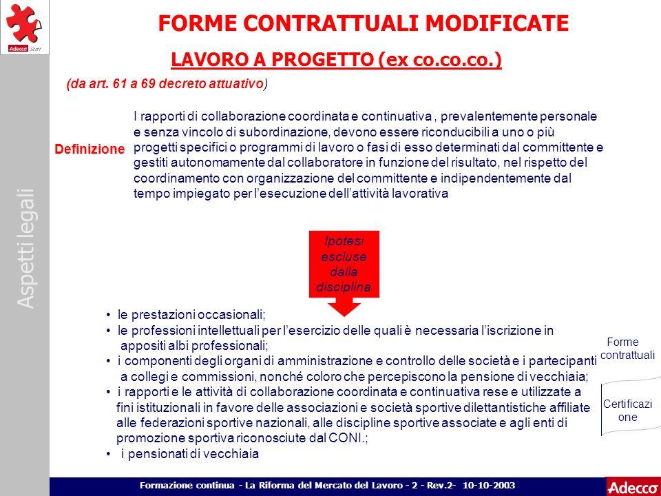 Aspetti legali p. 18 Formazione continua - La Riforma del Mercato del Lavoro - 2 - Rev.2- 10-10-2003 FORME CONTRATTUALI MODIFICATE LAVORO A PROGETTO (