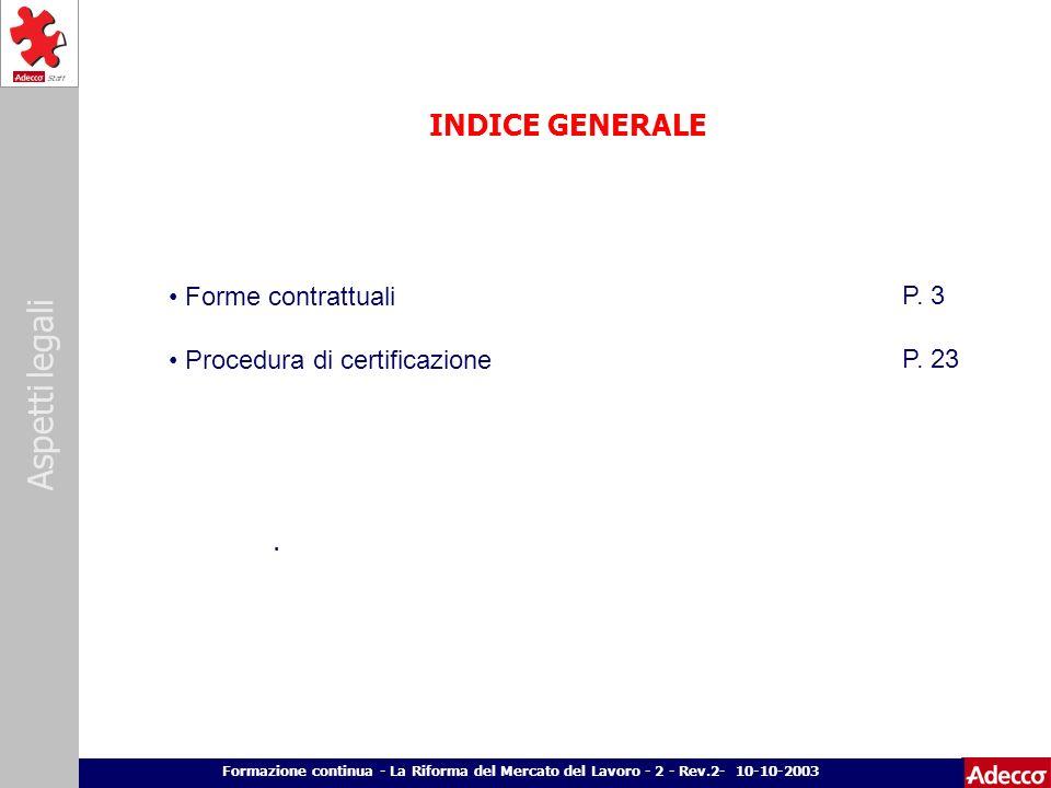 Aspetti legali p. 2 Formazione continua - La Riforma del Mercato del Lavoro - 2 - Rev.2- 10-10-2003 INDICE GENERALE. Forme contrattuali Procedura di c