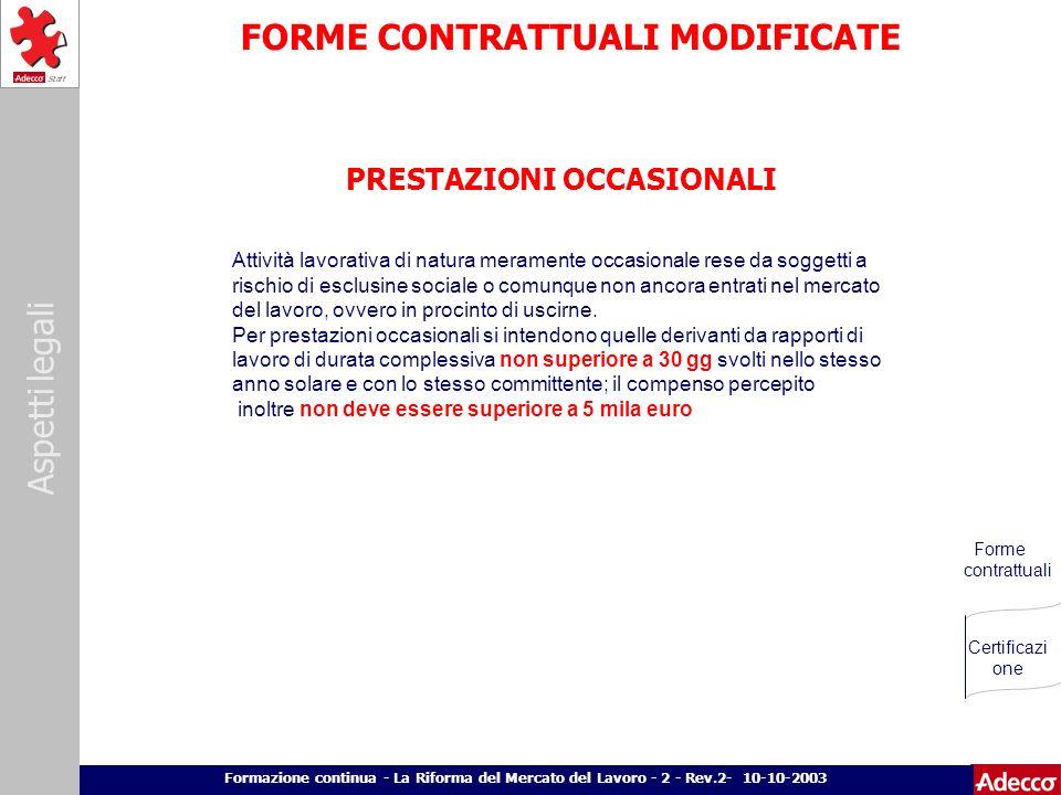 Aspetti legali p. 21 Formazione continua - La Riforma del Mercato del Lavoro - 2 - Rev.2- 10-10-2003 FORME CONTRATTUALI MODIFICATE PRESTAZIONI OCCASIO
