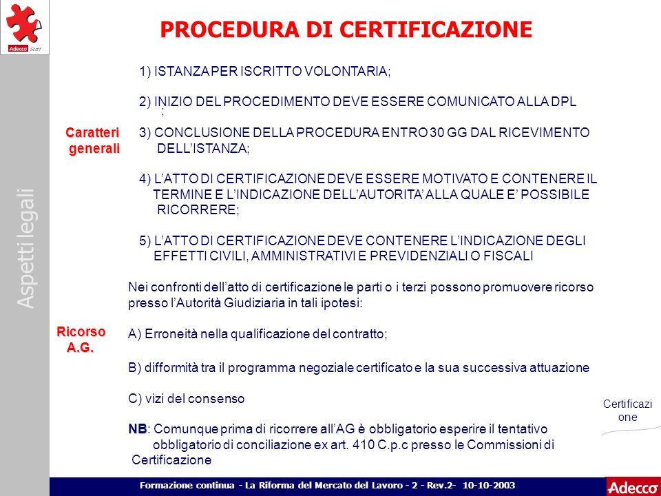 Aspetti legali p. 24 Formazione continua - La Riforma del Mercato del Lavoro - 2 - Rev.2- 10-10-2003 PROCEDURA DI CERTIFICAZIONE Caratteri generali ge
