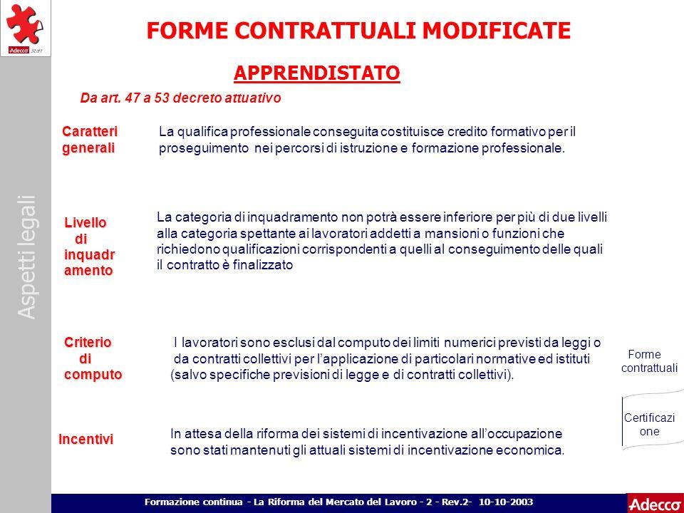 Aspetti legali p. 7 Formazione continua - La Riforma del Mercato del Lavoro - 2 - Rev.2- 10-10-2003 FORME CONTRATTUALI MODIFICATE Caratteri generali g