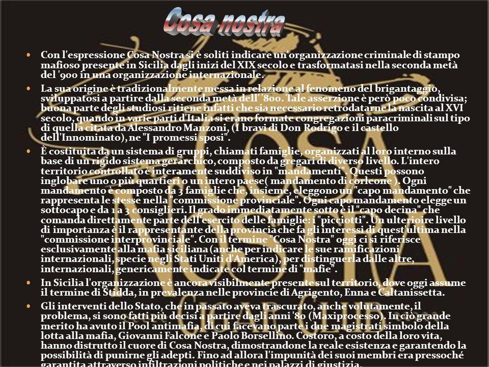 Con l'espressione Cosa Nostra si è soliti indicare un'organizzazione criminale di stampo mafioso presente in Sicilia dagli inizi del XIX secolo e tras