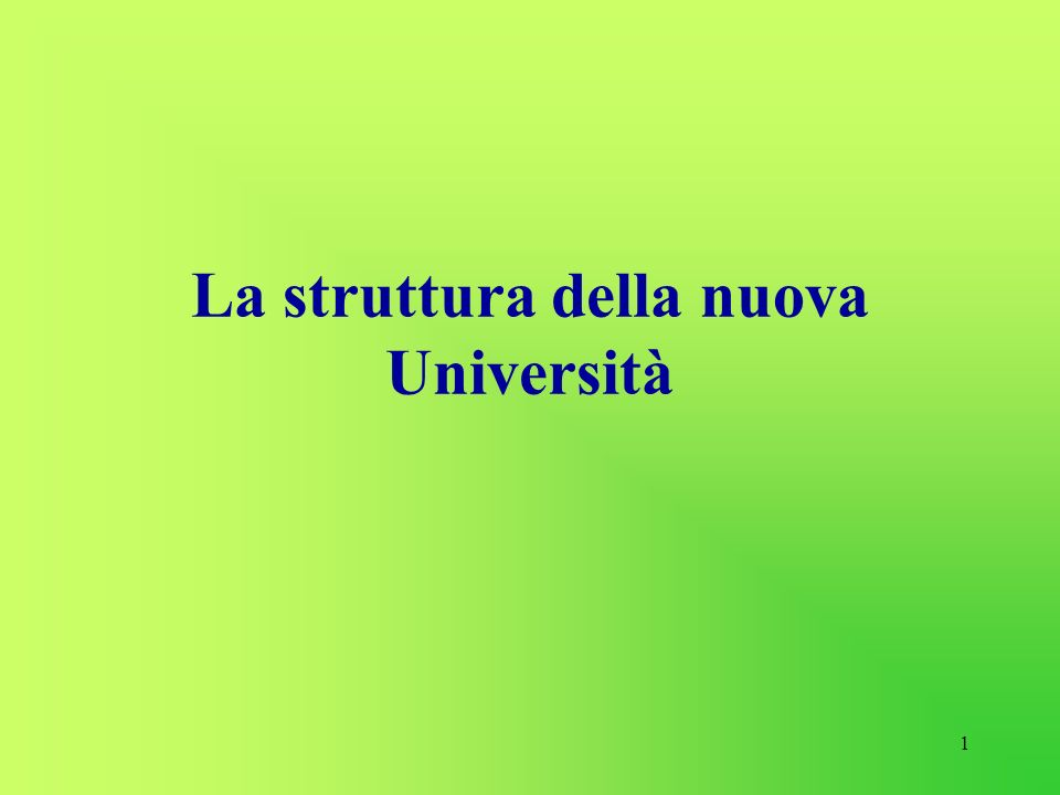 1 La struttura della nuova Università