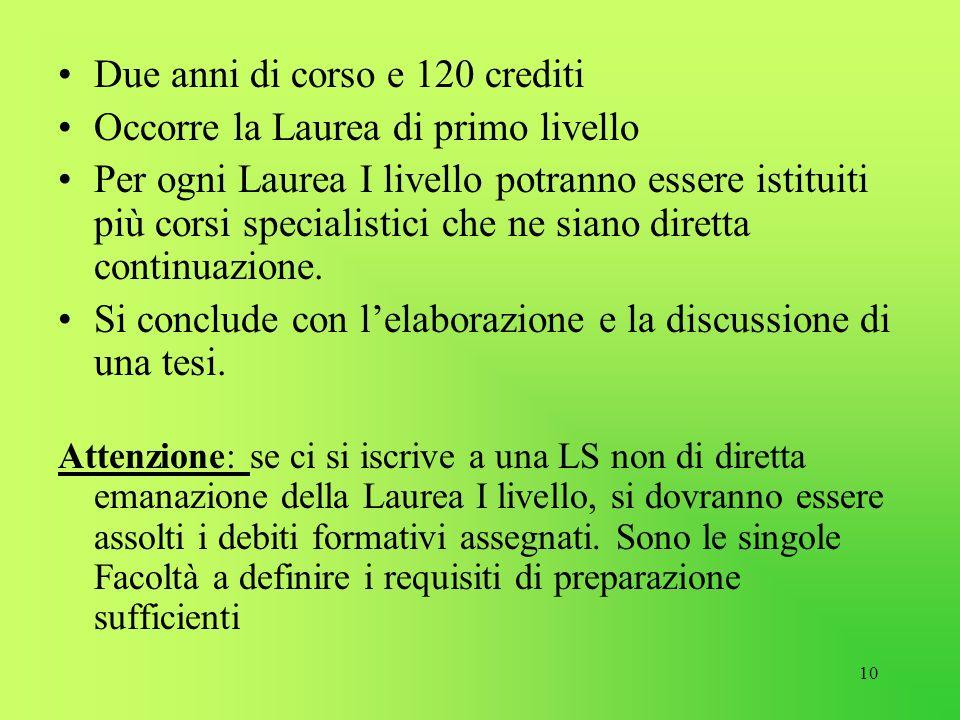 10 Due anni di corso e 120 crediti Occorre la Laurea di primo livello Per ogni Laurea I livello potranno essere istituiti più corsi specialistici che