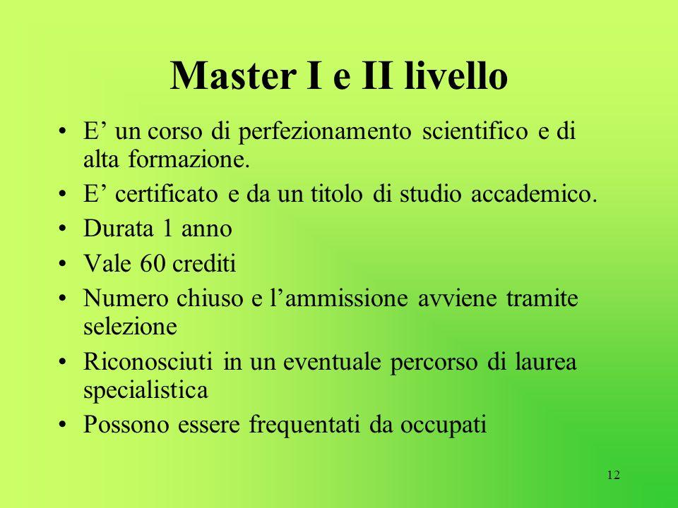 12 Master I e II livello E un corso di perfezionamento scientifico e di alta formazione. E certificato e da un titolo di studio accademico. Durata 1 a