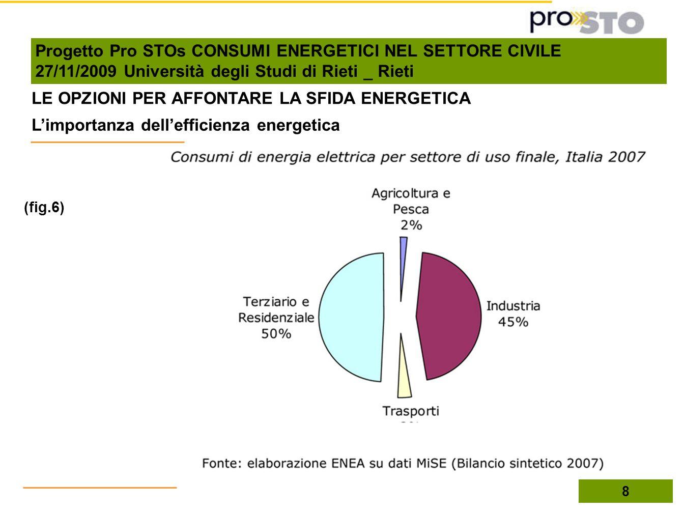 LE OPZIONI PER AFFONTARE LA SFIDA ENERGETICA (fig.6) Limportanza dellefficienza energetica 8 Progetto Pro STOs CONSUMI ENERGETICI NEL SETTORE CIVILE 2
