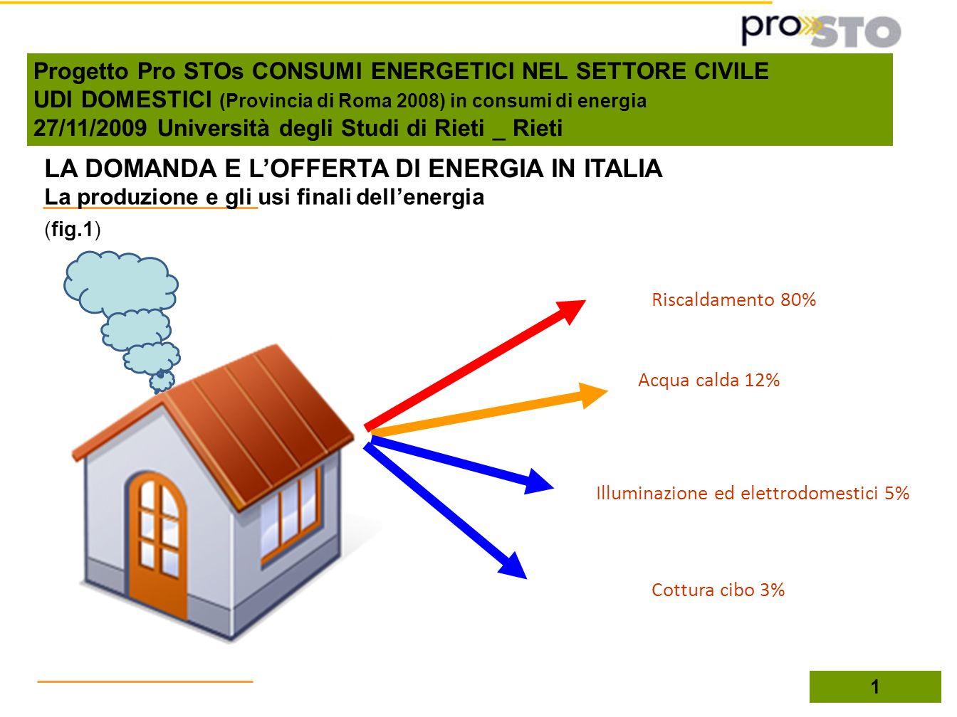 1 La produzione e gli usi finali dellenergia LA DOMANDA E LOFFERTA DI ENERGIA IN ITALIA Cottura cibo 3% Riscaldamento 80% Acqua calda 12% Illuminazion