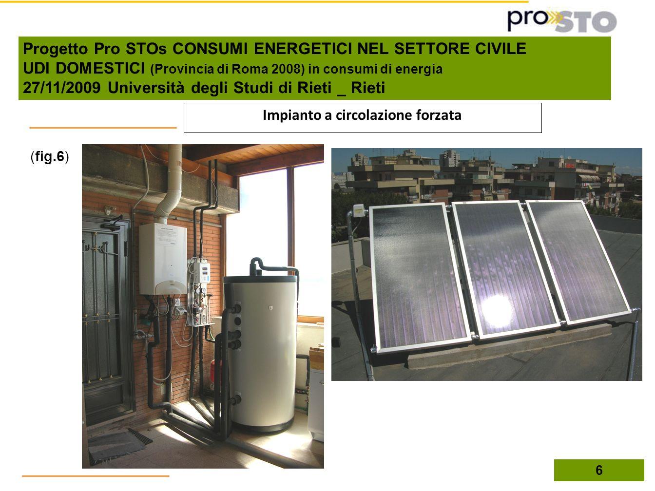 (fig.6) 6 Impianto a circolazione forzata Progetto Pro STOs CONSUMI ENERGETICI NEL SETTORE CIVILE UDI DOMESTICI (Provincia di Roma 2008) in consumi di