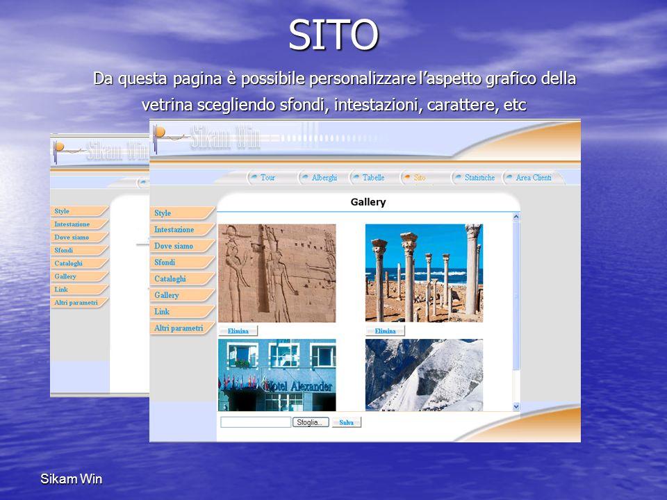 Sikam Win AREA CLIENTI Con Sikam Win è possibile la gestione dei clienti per gruppi e tipologie (utente generico, partner, etc), inserirli negli elenchi delle Newsletter e tanto altro ancora…