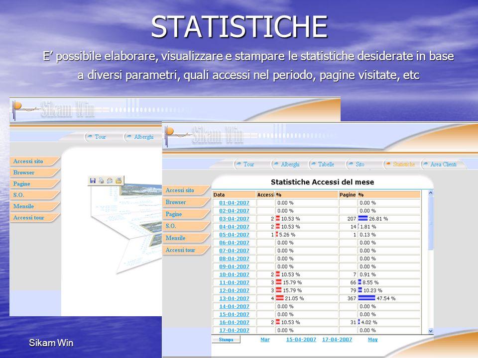 Sikam WinSTATISTICHE E possibile elaborare, visualizzare e stampare le statistiche desiderate in base a diversi parametri, quali accessi nel periodo,