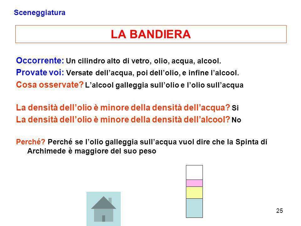 25 LA BANDIERA Occorrente: Un cilindro alto di vetro, olio, acqua, alcool. Provate voi: Versate dellacqua, poi dellolio, e infine lalcool. Cosa osserv