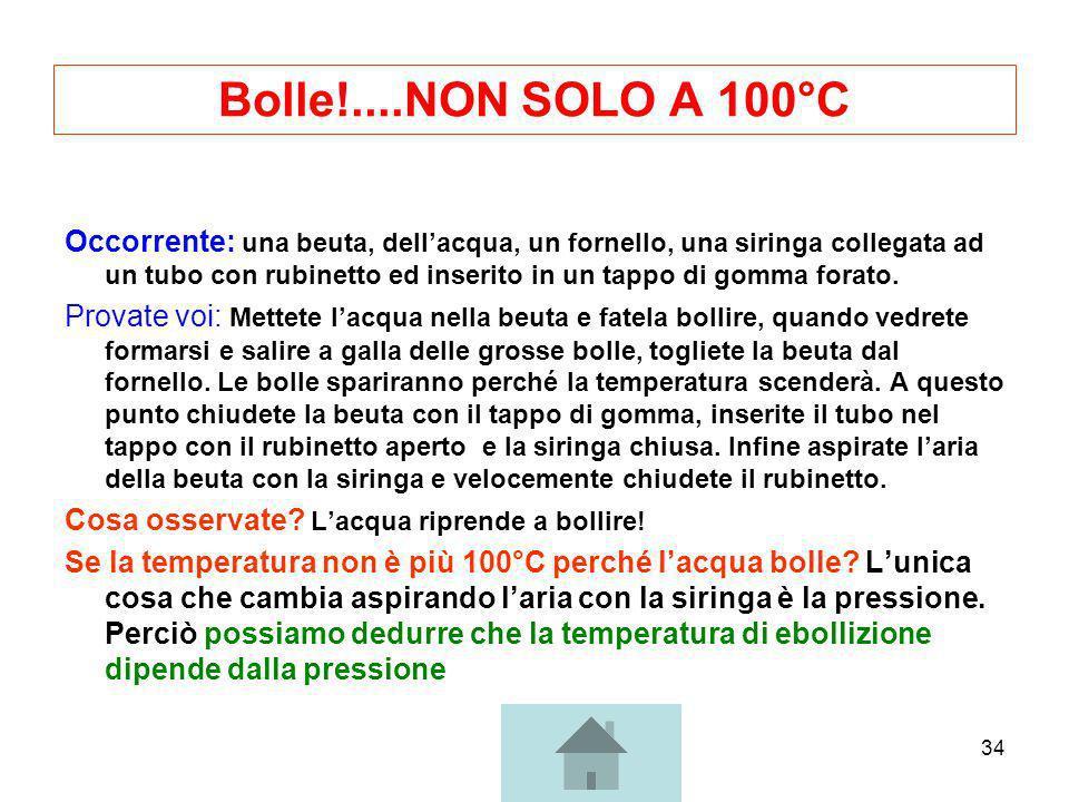 34 Bolle!....NON SOLO A 100°C Occorrente: una beuta, dellacqua, un fornello, una siringa collegata ad un tubo con rubinetto ed inserito in un tappo di