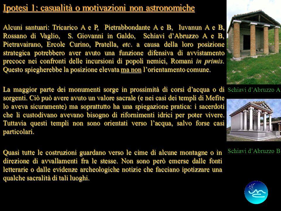 7 Ipotesi 1: casualità o motivazioni non astronomiche Alcuni santuari: Tricarico A e P, Pietrabbondante A e B, Iuvanun A e B, Rossano di Vaglio, S.