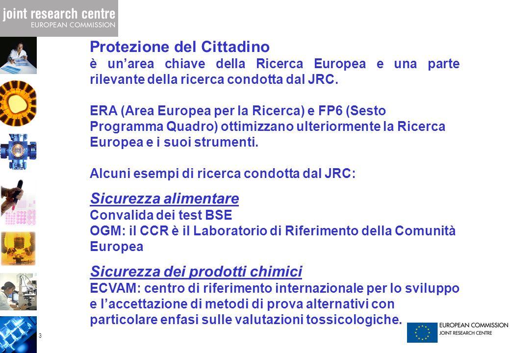 3 Protezione del Cittadino è unarea chiave della Ricerca Europea e una parte rilevante della ricerca condotta dal JRC. ERA (Area Europea per la Ricerc