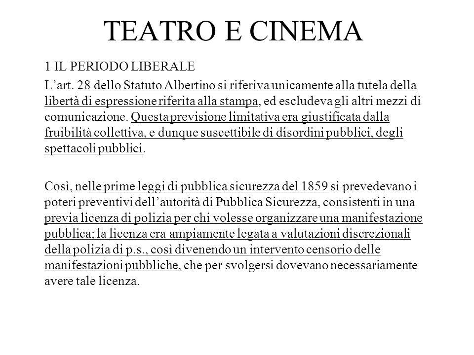 TEATRO E CINEMA 1 IL PERIODO LIBERALE Lart. 28 dello Statuto Albertino si riferiva unicamente alla tutela della libertà di espressione riferita alla s