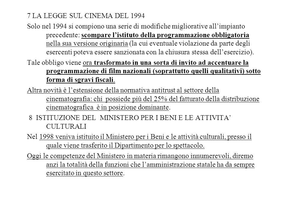 7 LA LEGGE SUL CINEMA DEL 1994 Solo nel 1994 si compiono una serie di modifiche migliorative allimpianto precedente: scompare listituto della programm