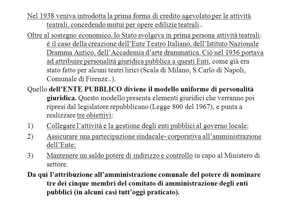 Nel 1938 veniva introdotta la prima forma di credito agevolato per le attività teatrali, concedendo mutui per opere edilizie teatrali.. Oltre al soste