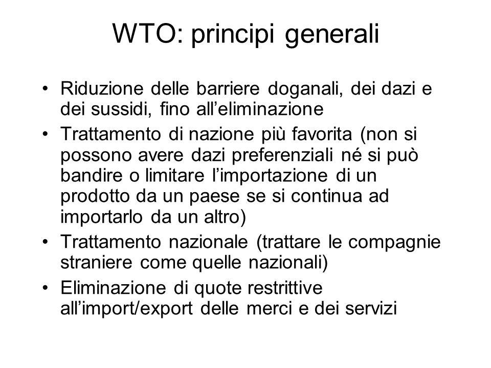 WTO: principi generali Riduzione delle barriere doganali, dei dazi e dei sussidi, fino alleliminazione Trattamento di nazione più favorita (non si pos