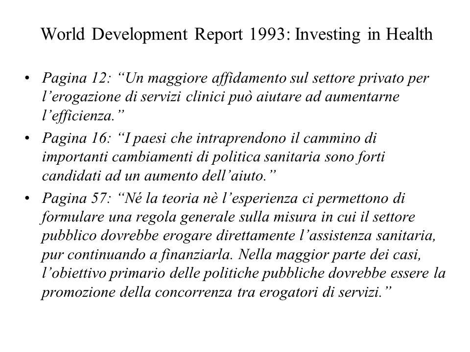 World Development Report 1993: Investing in Health Pagina 12: Un maggiore affidamento sul settore privato per lerogazione di servizi clinici può aiuta