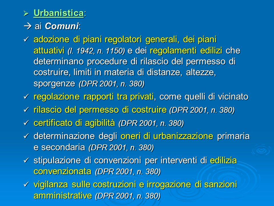Urbanistica: Urbanistica: ai Comuni: ai Comuni: adozione di piani regolatori generali, dei piani attuativi (l. 1942, n. 1150) e dei regolamenti ediliz