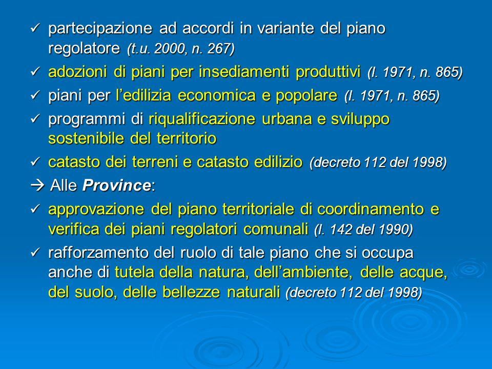 partecipazione ad accordi in variante del piano regolatore (t.u. 2000, n. 267) partecipazione ad accordi in variante del piano regolatore (t.u. 2000,