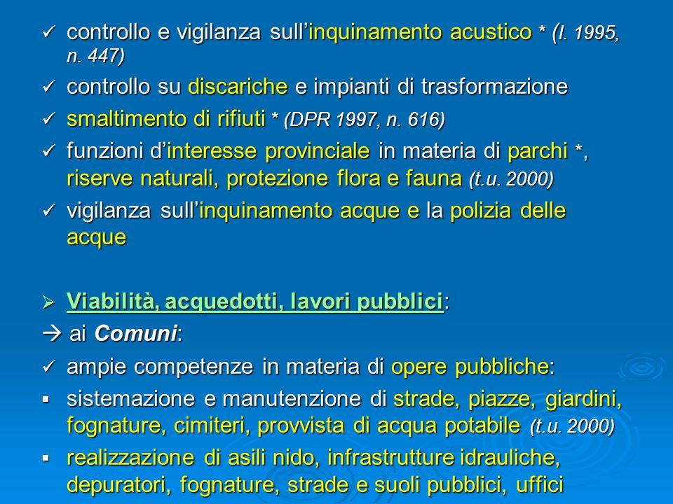 controllo e vigilanza sullinquinamento acustico * ( l. 1995, n. 447) controllo e vigilanza sullinquinamento acustico * ( l. 1995, n. 447) controllo su