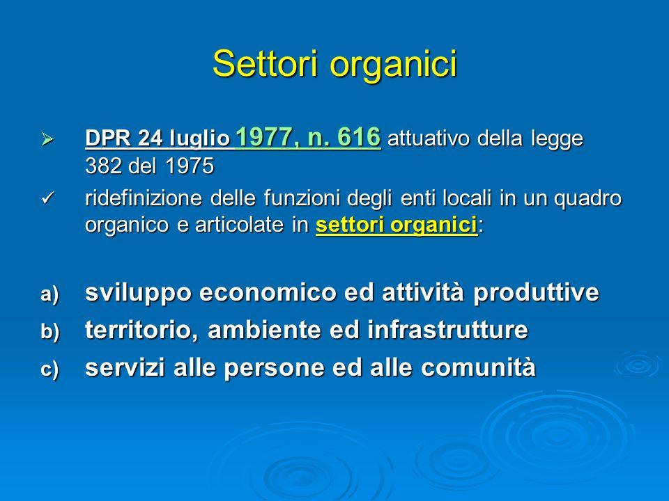 Settori organici DPR 24 luglio 1977, n. 616 attuativo della legge 382 del 1975 DPR 24 luglio 1977, n. 616 attuativo della legge 382 del 1975 ridefiniz