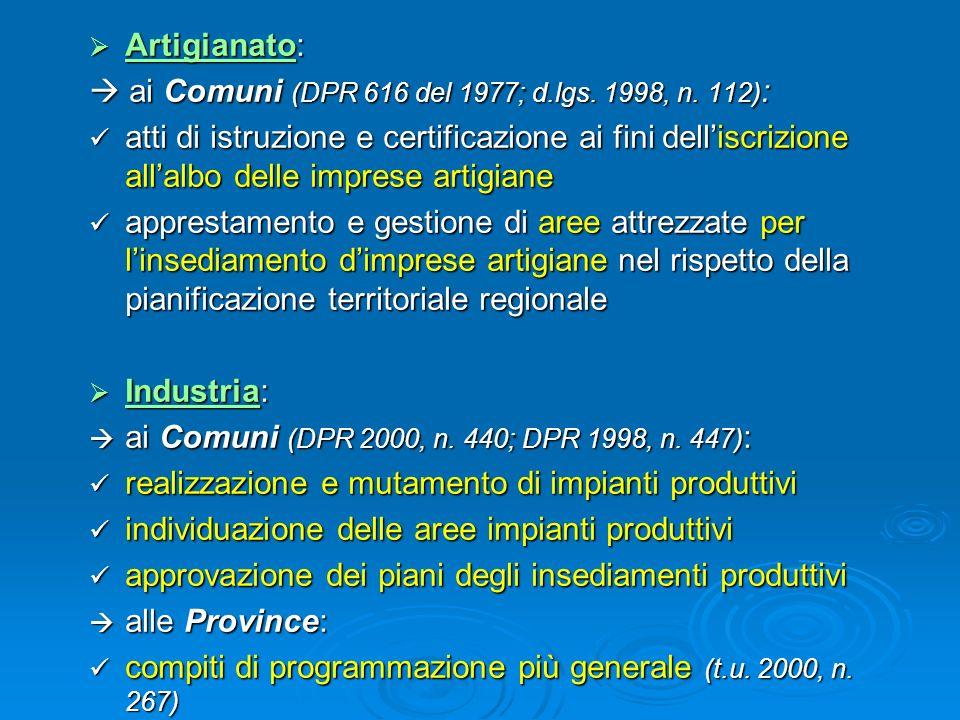Artigianato: Artigianato: ai Comuni (DPR 616 del 1977; d.lgs. 1998, n. 112) : ai Comuni (DPR 616 del 1977; d.lgs. 1998, n. 112) : atti di istruzione e