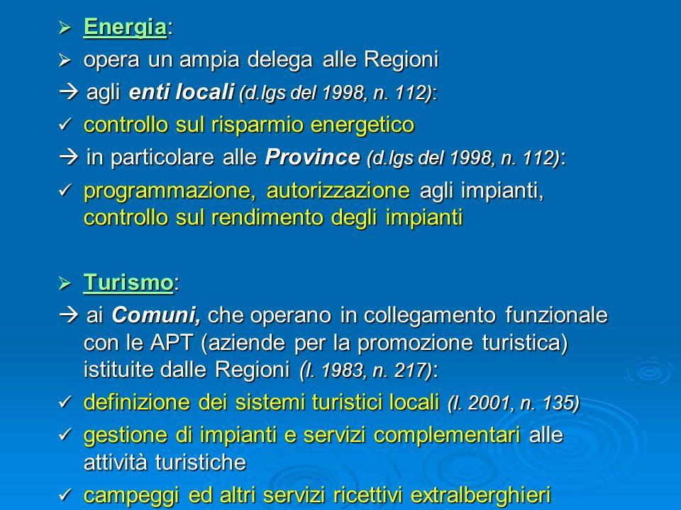 Energia: Energia: opera un ampia delega alle Regioni opera un ampia delega alle Regioni agli enti locali (d.lgs del 1998, n. 112): agli enti locali (d
