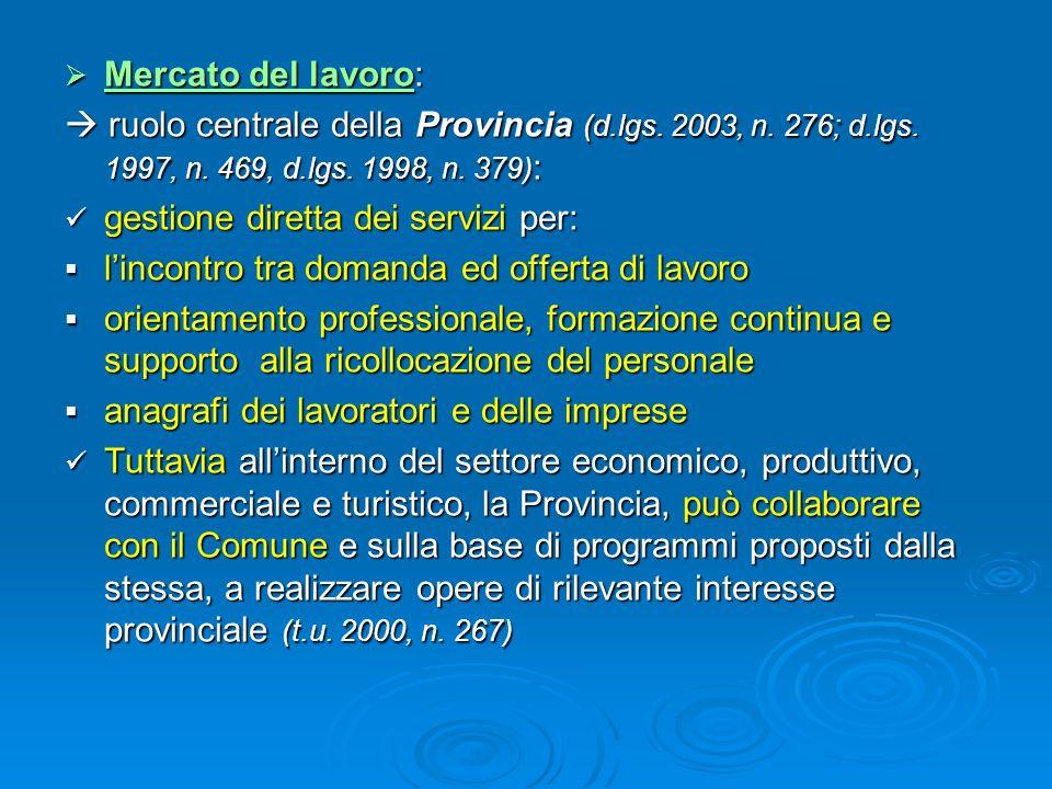 Mercato del lavoro: Mercato del lavoro: ruolo centrale della Provincia (d.lgs. 2003, n. 276; d.lgs. 1997, n. 469, d.lgs. 1998, n. 379) : ruolo central