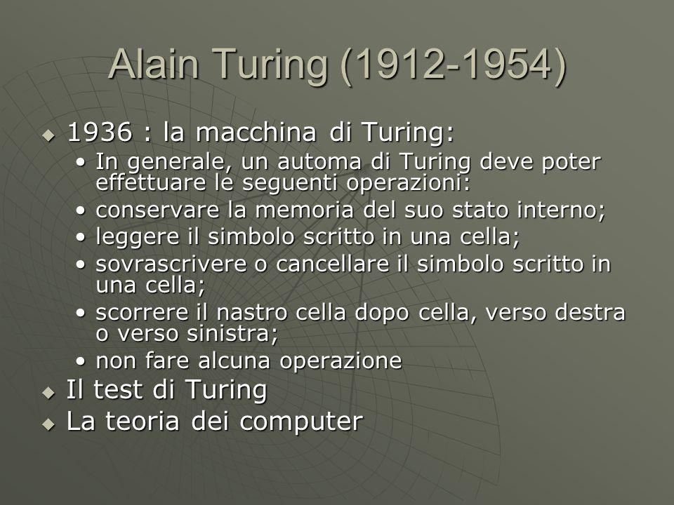 Alain Turing (1912-1954) 1936 : la macchina di Turing: 1936 : la macchina di Turing: In generale, un automa di Turing deve poter effettuare le seguent
