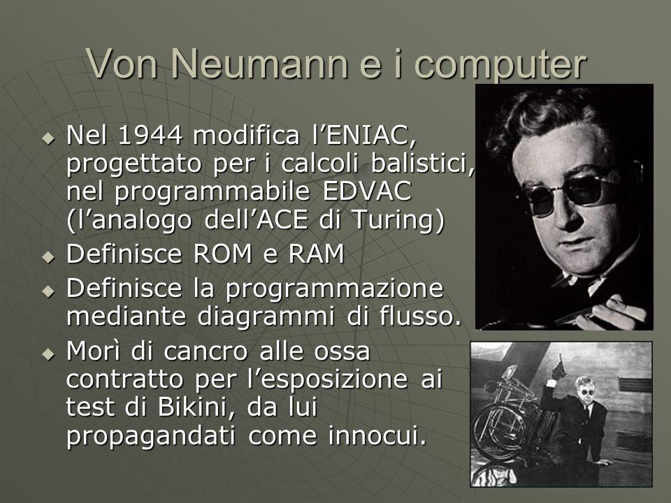 Von Neumann e i computer Nel 1944 modifica lENIAC, progettato per i calcoli balistici, nel programmabile EDVAC (lanalogo dellACE di Turing) Nel 1944 m