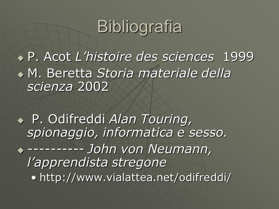 Bibliografia P. Acot Lhistoire des sciences 1999 P. Acot Lhistoire des sciences 1999 M. Beretta Storia materiale della scienza 2002 M. Beretta Storia
