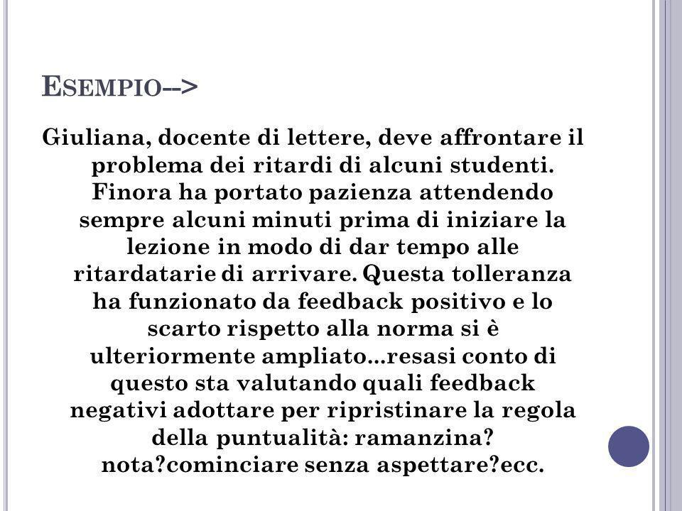 E SEMPIO --> Giuliana, docente di lettere, deve affrontare il problema dei ritardi di alcuni studenti. Finora ha portato pazienza attendendo sempre al