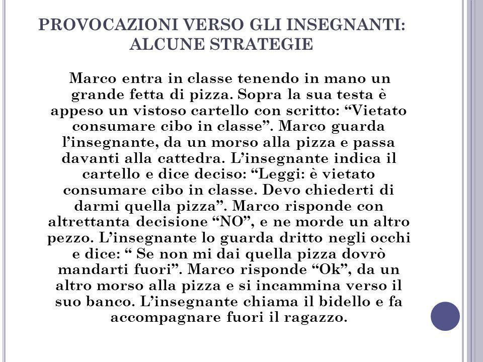 PROVOCAZIONI VERSO GLI INSEGNANTI: ALCUNE STRATEGIE Marco entra in classe tenendo in mano un grande fetta di pizza. Sopra la sua testa è appeso un vis