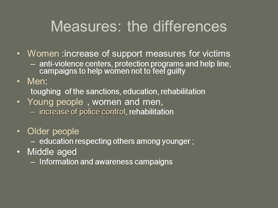 Measures: the differences Women :increase of support measures for victims –anti-violence centers, protection programs and help line, campaigns to help women not to feel guilty Men: toughing of the sanctions, education, rehabilitation Young people, women and men, –increase of police control –increase of police control, rehabilitation Older people –education respecting others among younger ; Middle aged –Information and awareness campaigns