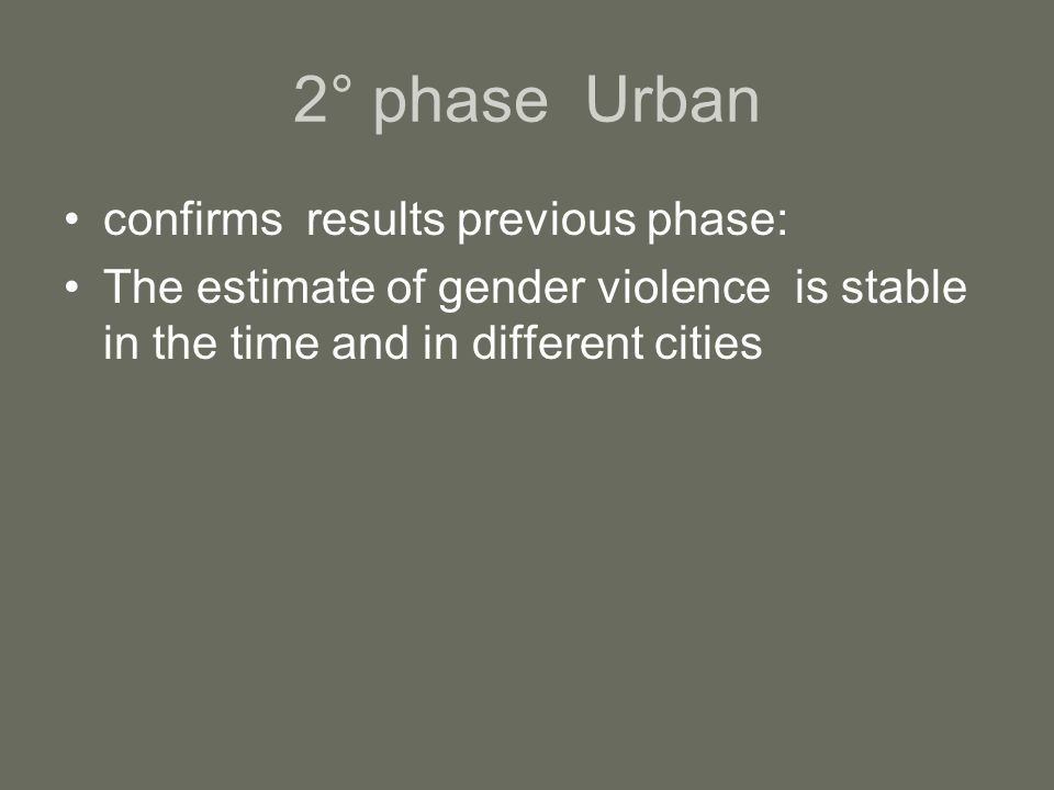 2° phase Urban confirms results previous phase: The estimate of gender violence is stable in the time and in different cities