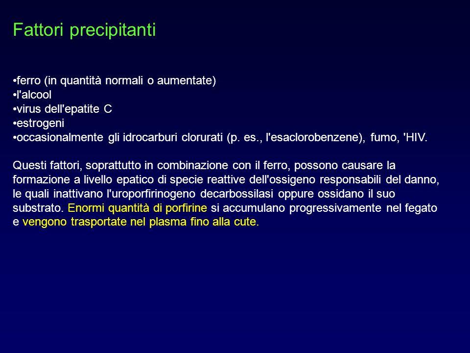 Fattori precipitanti ferro (in quantità normali o aumentate) l'alcool virus dell'epatite C estrogeni occasionalmente gli idrocarburi clorurati (p. es.
