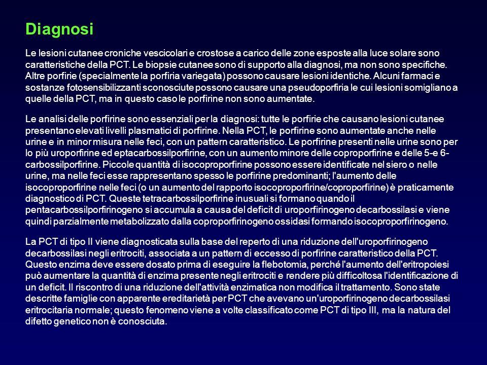 Diagnosi Le lesioni cutanee croniche vescicolari e crostose a carico delle zone esposte alla luce solare sono caratteristiche della PCT. Le biopsie cu