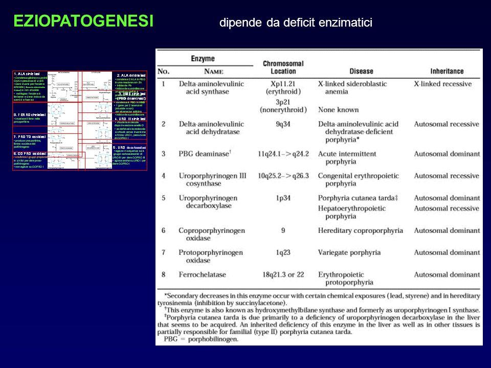 EZIOPATOGENESI dipende da deficit enzimatici