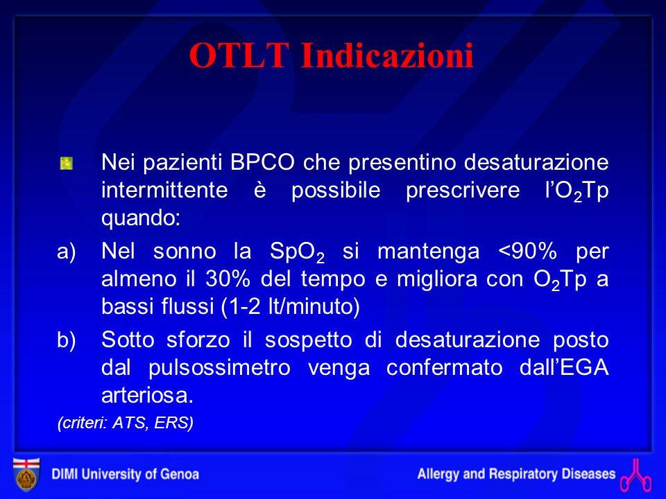 OTLT Indicazioni Ipossiemia intermittente Nei pz con malattie respiratorie croniche le modificazioni delle pressioni parziali dei gas ematici (PaO 2 e