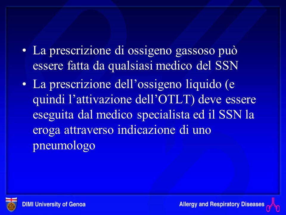 Fonti di ossigeno Bombola per ossigeno gassoso: limitata capienza, incompatibile con un adeguato programma terapeutico e di riabilitazione; utilizzate