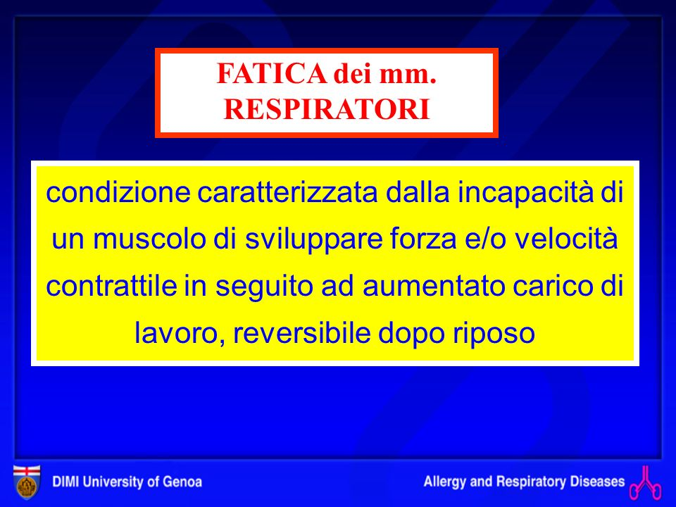 Deficit di pompa Insufficienza ventilatoria acuta dove il Volume/minuto non è più sufficiente a soddisfare le richieste metaboliche dellorganismo