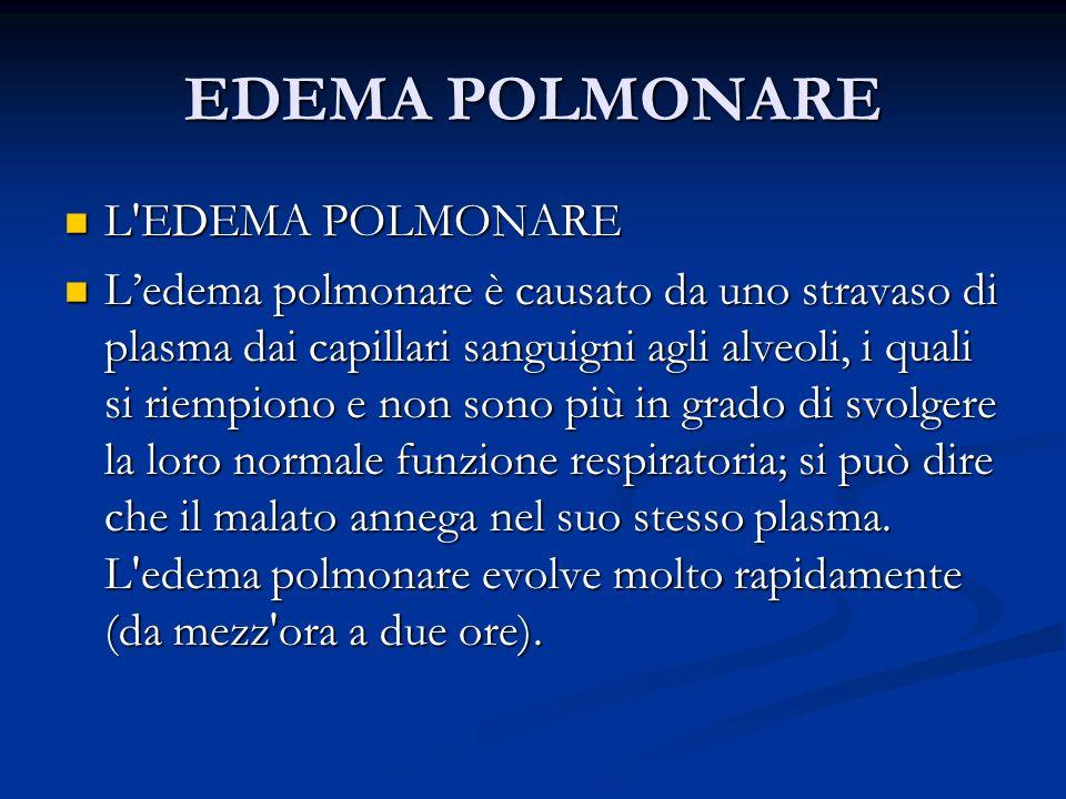 EDEMA POLMONARE L'EDEMA POLMONARE L'EDEMA POLMONARE Ledema polmonare è causato da uno stravaso di plasma dai capillari sanguigni agli alveoli, i quali
