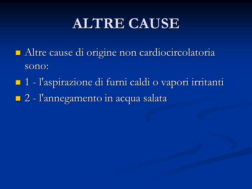 ALTRE CAUSE Altre cause di origine non cardiocircolatoria sono: Altre cause di origine non cardiocircolatoria sono: 1 - l'aspirazione di furni caldi o